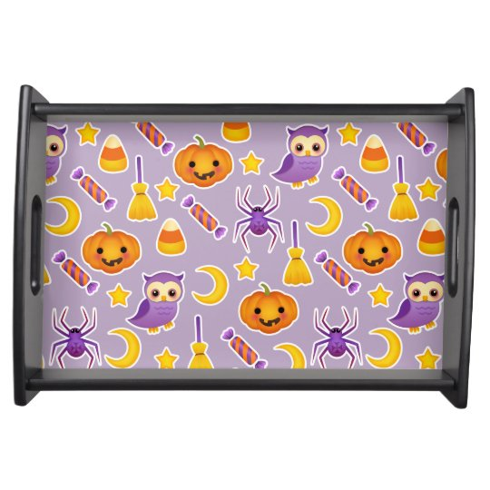 Cheerful Purple Halloween Graphic Pattern Food Trays