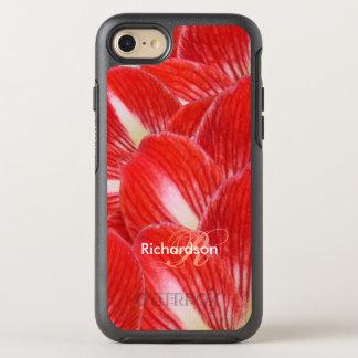 Cheerful Red White Amaryllis Flower Monogram OtterBox Symmetry iPhone 7 Case