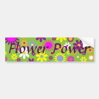 Cheerful Retro Flower Power Floral Designer Bumper Sticker