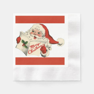 Cheerful Retro Santa Red Coined Paper Napkins
