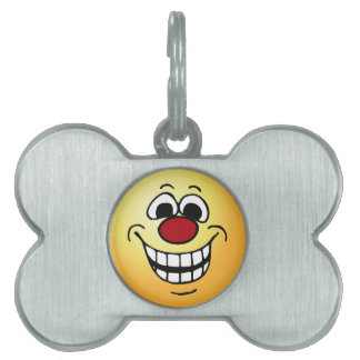 Cheerful Smiley Face Grumpey Pet Name Tags