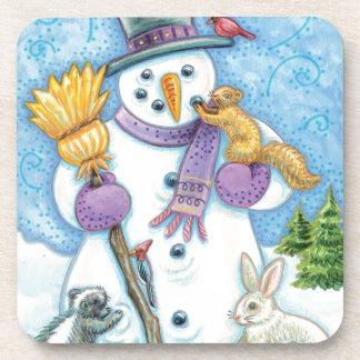 Cheerful snowman coaster
