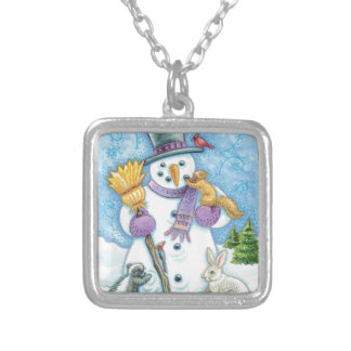 Cheerful snowman silver plated necklace