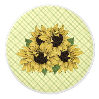 Cheerful Sunflowers on Plaid Drawer Pulls