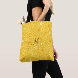 Cheerful sunny yellow dandelion pattern tote bag