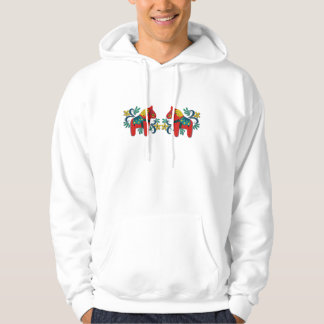 Cheerful Swedish Dala Horses Scandinavian Hoodie