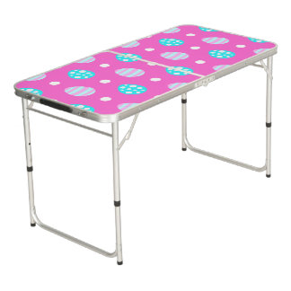 Cheerful sweet pink colorful easter eggs pattern beer pong table