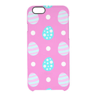 Cheerful sweet pink colorful easter eggs pattern clear iPhone 6/6S case