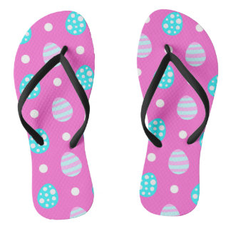 Cheerful sweet pink colorful easter eggs pattern flip flops
