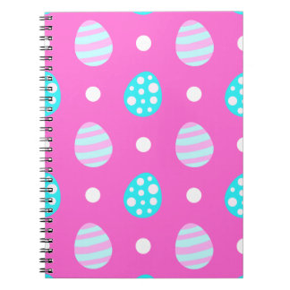 Cheerful sweet pink colorful easter eggs pattern notebooks