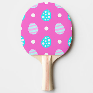 Cheerful sweet pink colorful easter eggs pattern ping pong paddle
