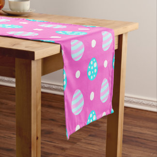 Cheerful sweet pink colorful easter eggs pattern short table runner