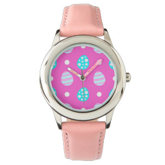 Cheerful sweet pink colorful easter eggs pattern watch