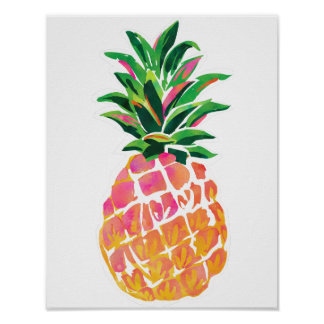 "Cheerful Tropical Pineapple Poster - 11""x 14"""