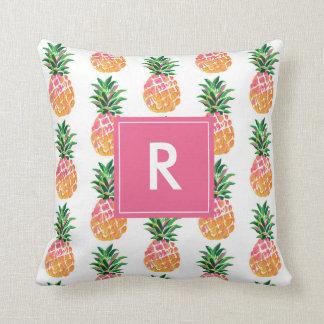 Cheerful Tropical Pineapple with Custom Monogram Throw Pillow