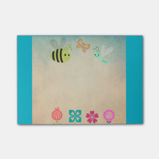 Cheerful Whimsical Collection of Flowers and Bugs Post-it Notes