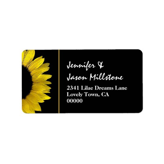 Cheerful Yellow and Black Sunflower Modern Wedding Label