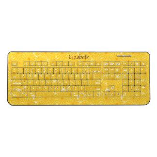 cheerful yellow dandelions floral pattern wireless keyboard