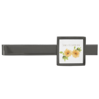 CHEERFUL YELLOW ORANGE WATERCOLOUR FLOWER MONOGRAM GUNMETAL FINISH TIE BAR