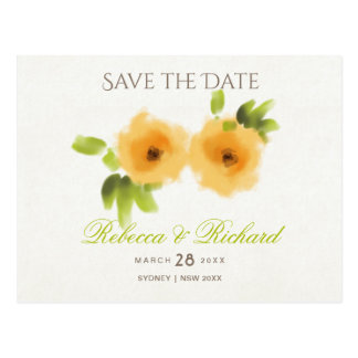 CHEERFUL YELLOW ORANGE WATERCOLOUR Save the date Postcard