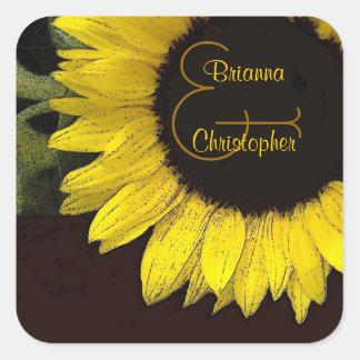 Cheerful Yellow Sunflower Square Wedding Sticker