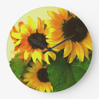 Cheerful yellow sunflowers floral wall clock