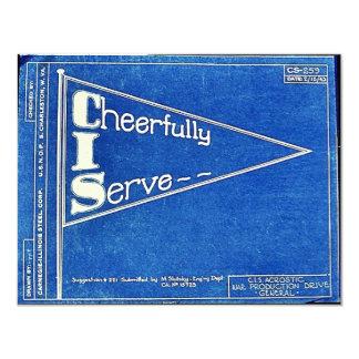 """Cheerfully I Serve 4.25"""" X 5.5"""" Invitation Card"""