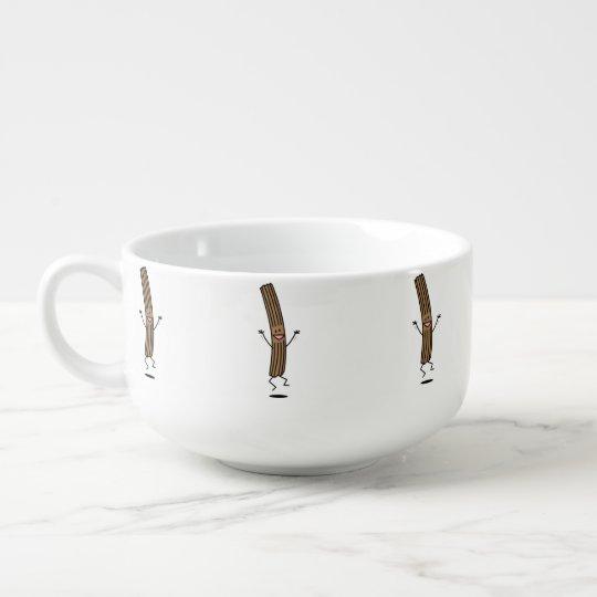 Cheering Jumping Churro Soup Bowl With Handle