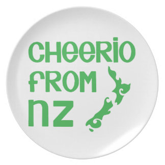 Cheerio from NZ with New Zealand map Party Plate
