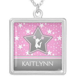 Cheerleader Among the Stars in Pink with YOUR NAME Silver Plated Necklace