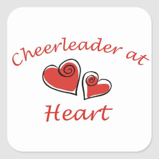 Cheerleader at Heart Square Sticker