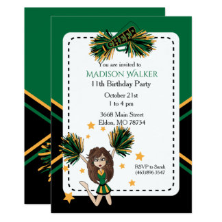 Cheerleader Birthday Party in Dark Green & Gold Card