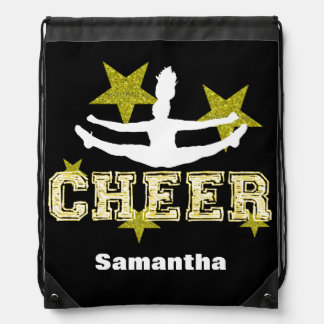 Cheerleader black and gold cinch sack backpack
