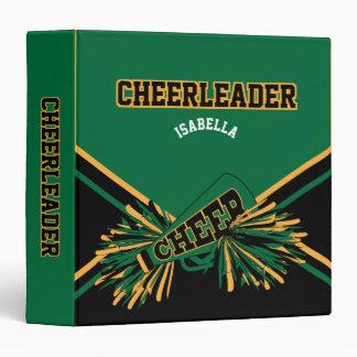 "Cheerleader  Black, Gold & Dark Green 1.5"" Vinyl Binders"