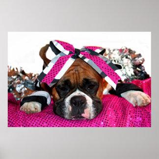 Cheerleader Boxer dog poster