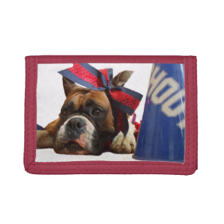 Cheerleader boxer dog tri-fold wallet