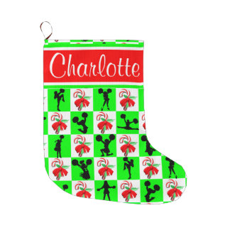 CHEERLEADER CANDY CANE CHRISTMAS STOCKING