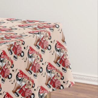 "CHEERLEADER CAT GIRL Tablecloth COLOR LIPS 52""x70"""
