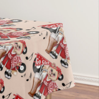 "CHEERLEADER CAT GIRL Tablecloth COLOR LIPS 60""x104"