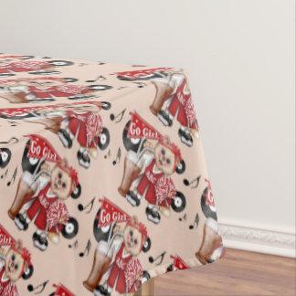 "CHEERLEADER CAT GIRL Tablecloth COLOR LIPS 60""x84"""