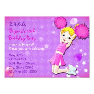 Cheerleader Cheer Birthday Party Invitations