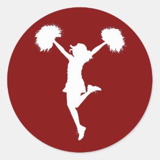 Cheerleader Cheerleading Outline Art by Al Rio Classic Round Sticker