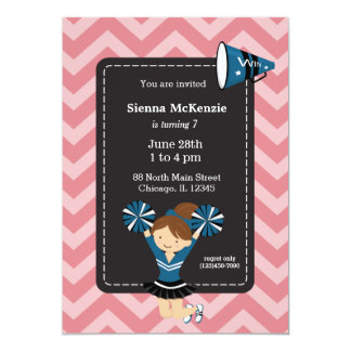 """Cheerleader, choose your own background color 5"""" x 7"""" invitation card"""
