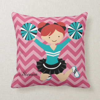 Cheerleader, choose your own background colour throw pillow