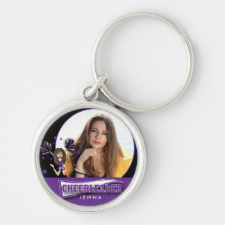 Cheerleader - DIY Photo -  Purple and B;ack Silver-Colored Round Keychain