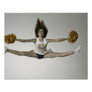 Cheerleader doing splits in mid air poster