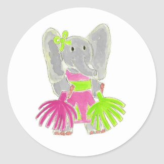 Cheerleader Elephant Classic Round Sticker