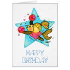 Cheerleader fish cute funny comics birthday card