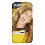Cheerleader flipping hair, laughing, surrounded barely there iPhone 6 case