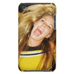 Cheerleader flipping hair, laughing, surrounded barely there iPod case